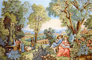 Kerti jelenet a XVIII. századból